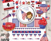 4th of July Stickers, Planner Stickers, Printable Planner Stickers, Kawaii Stickers, Planner Accessories, Independence Day, Patriotic
