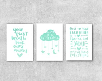 Mint Green Nursery Set Of Three Wall Art Mint Nursery Decor Baby Wall Art Son Daughter Nursery Wall Art Mint Print Set Baby Wall Decor
