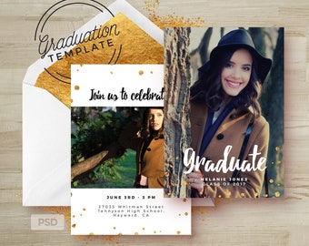 Gold Confetti- Graduation Invitation - Grad Card - Photoshop Template-Printable Grad Announcement Card -Graduation- Photo Marketing Template