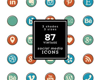 Vintage Social Media Icons SET - 87 icons - 261 png files - Vintage Textured Comicbook style set - 3 colors & 2 sizes - INSTANT DOWNLOAD