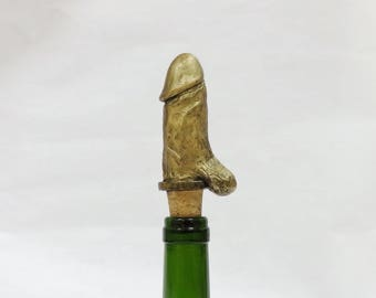 penis sculpture wine stopper cork  bottle stopper natural cork nude handmade - resin and bronze powder 11cm