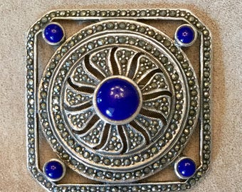1950's Lapis & Marcasite Brooch