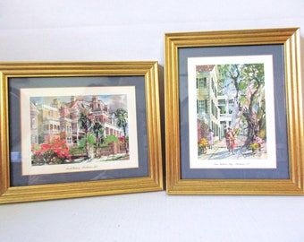 South Battery Charleston South Carolina, Saint Michael's Alley, Framed Prints Pair, Virginia Fouche Bolton Charleston Artist, Charleston Art