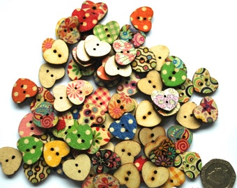 20 Wooden Heart Shaped Buttons - Flower Power - Various Colours and Patterns - Sewing Projects - UK Seller