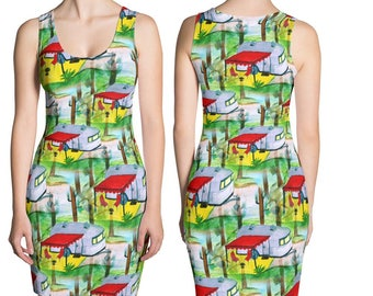 Camper by the lake all over print dress from my art