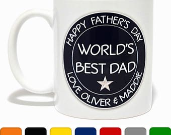 Personalised 'Happy Father's Day - World's Best Dad' Mug - Coffee Mug - Unique Gift - Gifts for Dad - Father's Day Mug - Father's Day Gift