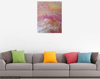 Fluid painting on canvas - Rose Quartz