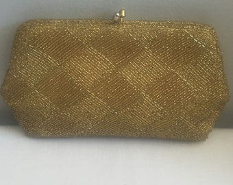 Vintage Gold Beaded Dressy Evening Clutch