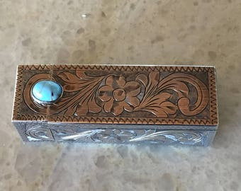 Vintage Sterling Compact - Vintage Sterling Lipstick case - Art deco Sterling - Turquoise - Retro glamour - Hand engraved - Italian made