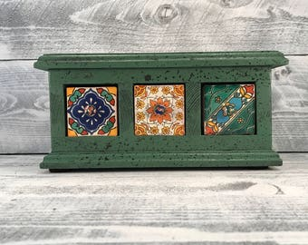 Apothecary Cabinet, Handmade Herb Drawers With Mexican Tile Front & Handcrafted Wood Cabinet, Hand Painted Old World Style, Item #531921369