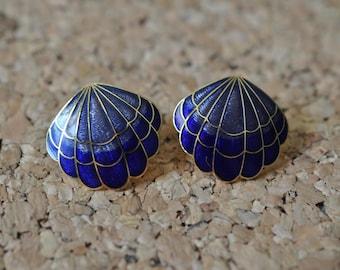 Vintage Blue Shell Cloisonne Earrings, Pierced Earrings, Gold Tone, Blue Earrings, Shell Earrings, Blue Jewelry, Vintage Earrings, GS996