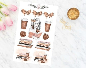 Reading Girl soft watercolor planner stickers boho