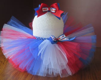 Baby~Toddler~ Buffalo Bills~ Fluffy Tutu Set~ with Headband/Hair Clip~ Size: 12-24 months ~ Made and Ready to GO!
