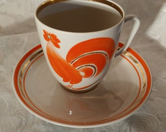 VINTAGE Cup and saucer with a rooster / Mid-century Cock cup and saucer / VTG Cup collection made in Ukrainia