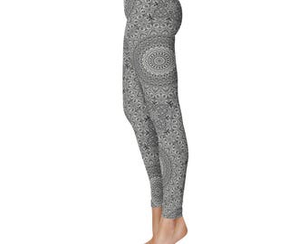 Workout Leggings - Gray Patterned Yoga Pants for Women, Printed Mandala Art Leggings, Festival Leggings in Gray and Black