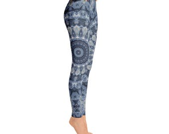 Leggings Yoga Dark Blue, Mandala Yoga Pants, Printed Yoga Tights, Dark Blue Leggings, Fashion Leggings, Womens Stretch Pants