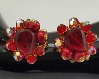 Beaded Red Glass Earrings