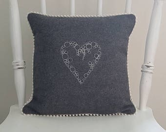 Heart cushion, decorative cushion, decorative pillow, valentines gift, handmade, grey cushion, woollen cushion, cushion cover, pillow cover
