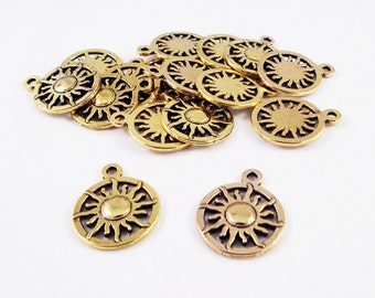 BP86 - Silver Gold Bronze charms Locket Tribal ethnic Maya Inca Sun / Gold Silver Bronze Ethnic Sun drop Pattern