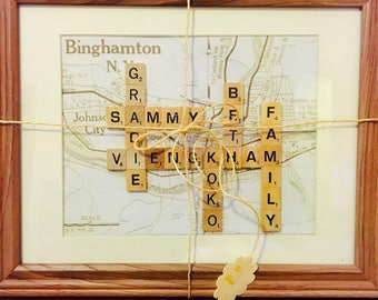 Personalized scrabble frame with map background