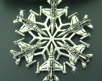 USAF F-16 SnowWonders® Snowflake Ornament/Pendant, USAF Graduation Gift, Military Ornament, Package Decoration, Window Decor (#JPEW5428)