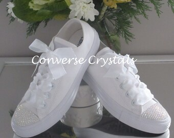 Beautiful Mono White Custom Crystal *Bling* Converse Organza Shimmer Laces Sizes 3-8