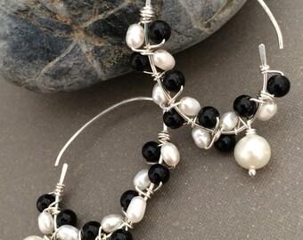 Gemstone Wire Wrapped Earrings, Fresh Water Pearl and Black Jade Earrings, Black and White Earrings