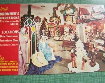 Vintage Postcard - Unused Unstamped - Bronner's Decorations of Frankenmuth Michigan - Bronner's Christmas Decorations Store