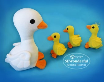 Duckling Parade Plush Stuffed Animal Sewing Pattern PDF
