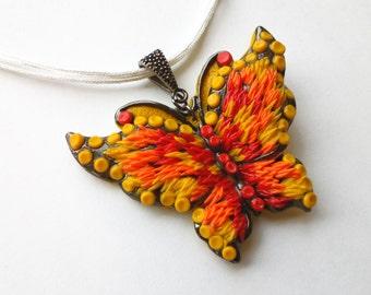 Sunny Butterfly Pendant. Handmade Butterfly Necklace