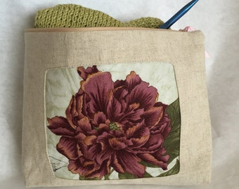 Floral Knitting Bag, Pencil Case,Red Clutch,Zip Bag, Knitting Bag, Purse,Cosmetic Bag,Makeup Bag,Pencil Case,Linen Bag, Project Bag,Clutch