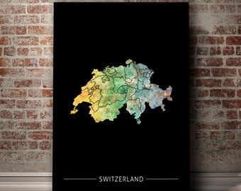 Switzerland Map - Country Map of Switzerland - Art Print Watercolor Illustration Wall Art Home Decor Gift - PRINT