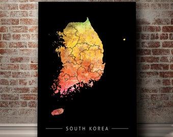 South Korea Map - Country Map of South Korea - Art Print Watercolor Illustration Wall Art Home Decor Gift - PRINT
