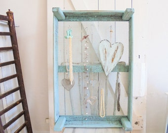 Schnuckregal Shabby Chic unique turquoise necklace stand Tulip box