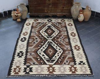FREE SHIPPING Turkish Kilim Rug, Aztec Kilim Rug, Antique Kilim Rug,  Anatolian Kilim Rug, Boho Kilim , Nomadic Rug, 3.5 X 5.7, No 345