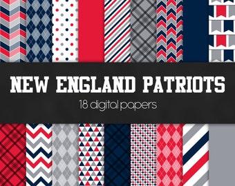 New England Patriots Digital Paper Pack - INSTANT DOWNLOAD