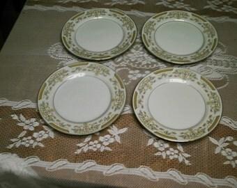 Sale Set 4 Vintage Signature Collection Cornet  Fine China Plates Salad/Cake Plates Pristine