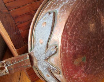 Old handmade Hammered Copper primative fry pan
