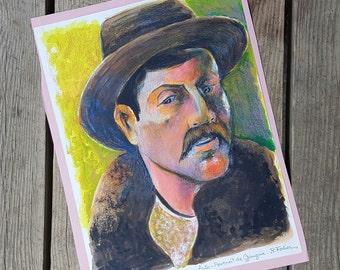 """Self-portrait of Gauguin"" of Robert Fertier vintage pencil and paint"