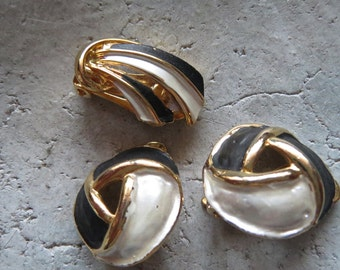 SALE-individual fit Vintageschmuck-3Ohrclips, 1 pair and 1 in the shade, maybe as a brooch or clothing clip to the clip earrings can be used