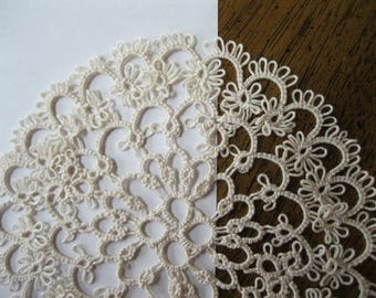 Handmade 6 Inch Ecru Tan Tatted Lace Doily