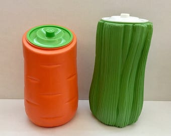 1970s Carrot and Celery Canisters