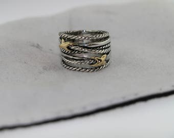 david yurman double x crossover ring with 18k gold size 6