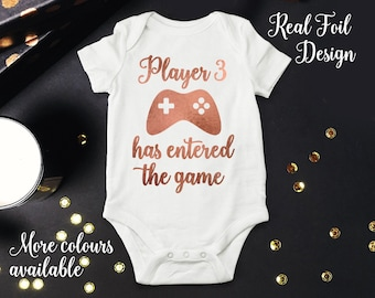Player 3 Has Entered The Game Pregnancy Announcement, Geeky Gamer Baby Boy Or Girl Take Home One Piece Bodysuit Outift