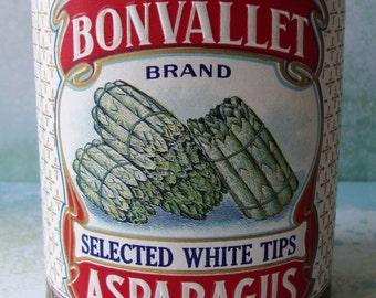 Vintage Bonvallet Asparagus Tin Can