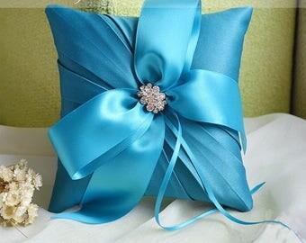 Satin Wedding Pillow with brooch, Satin Wedding Ring Bearer Pillow, White Ring Pillow, Blue Ring Pillow