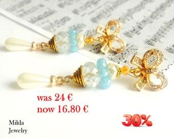 Dangle drop Ear Stud Earrings, white, blue, gold beaded earrings, rhinestone cluster earrings, pearl node earrings, bridal earrings for her
