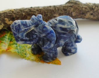Sodalite, blue - white, elephant, decoration, figure, sculpture, art, gem, animals