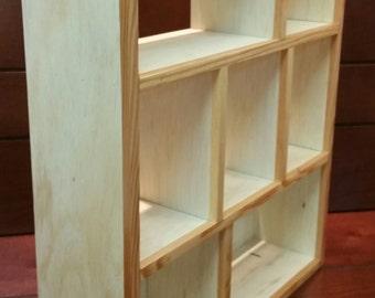 Wooden Display Shelf - Wooden Display Case - Wooden Shadow Box - Knick Knack Shelf - Collectibles Shelf - Chotskies Shelf
