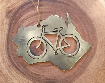 Rustic Recycled Steel Metal State Christmas Ornaments with Bicycle Holiday Gift